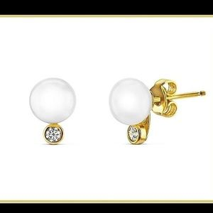 925 Sterling Classic Pearl and Cz Bridal Earrings